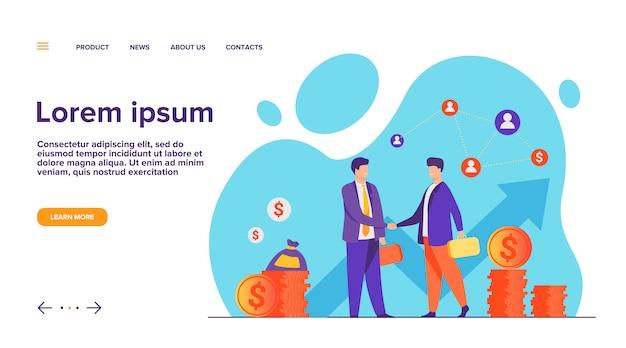 Pagina di destinazione di handshaking di due partner commerciali