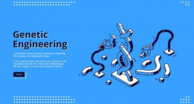 Pagina di destinazione di ingegneria genetica, proiezione di dna