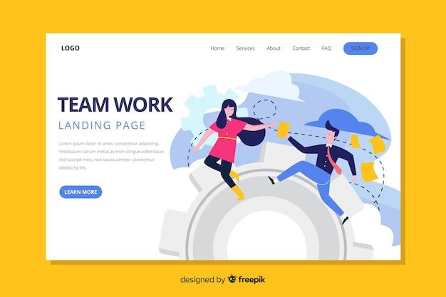 Pagina di destinazione di lavoro di squadra colorato design piatto con personaggi in esecuzione