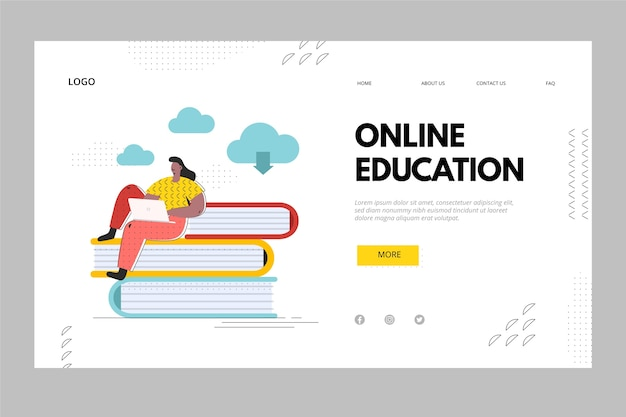 Pagina di destinazione di libri e istruzione online