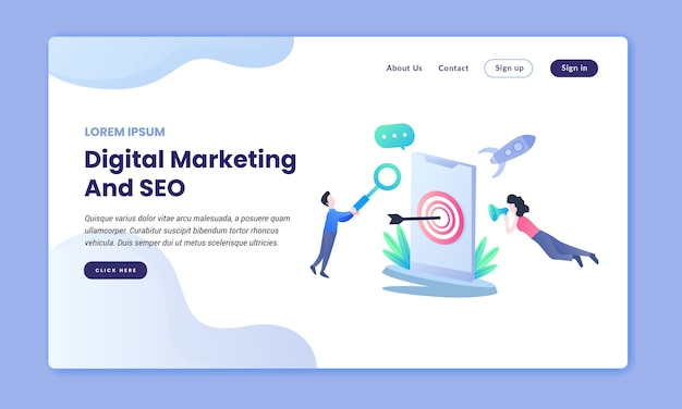 Pagina di destinazione di marketing digitale e seo
