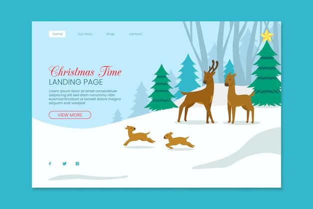 Pagina di destinazione di natale con renne