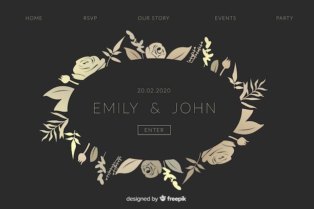 Pagina di destinazione di nozze eleganti dorate