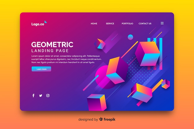 Pagina di destinazione di pezzi geometrici 3d