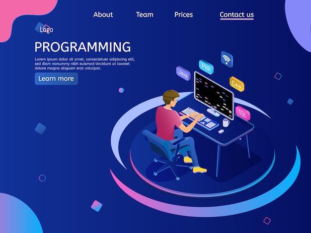 Pagina di destinazione di programmazione con ingegnere al lavoro.
