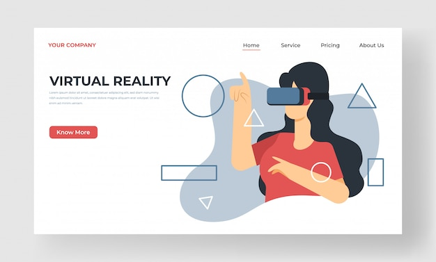 Pagina di destinazione di realtà virtuale