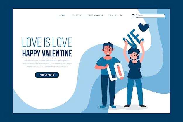 Pagina di destinazione di san valentino felice