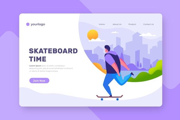 Pagina di destinazione di sport all'aperto con uomo su skateboard