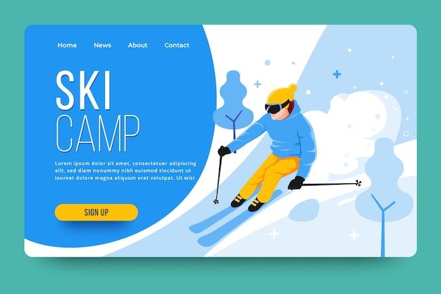 Pagina di destinazione di sport all'aria aperta con sciatore illustrato