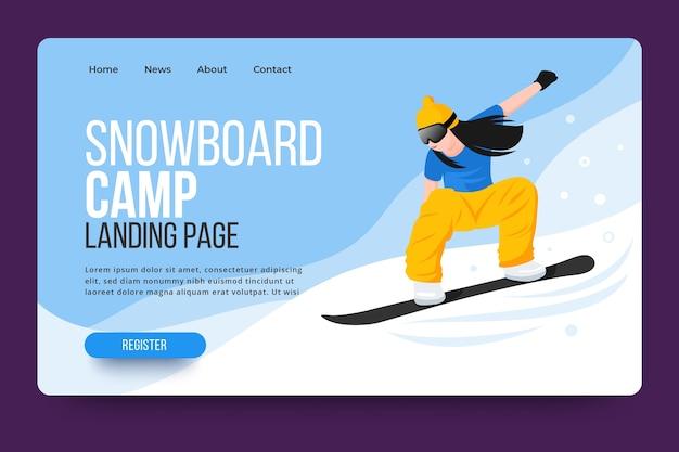 Pagina di destinazione di sport all'aria aperta con snowboarder illustrato