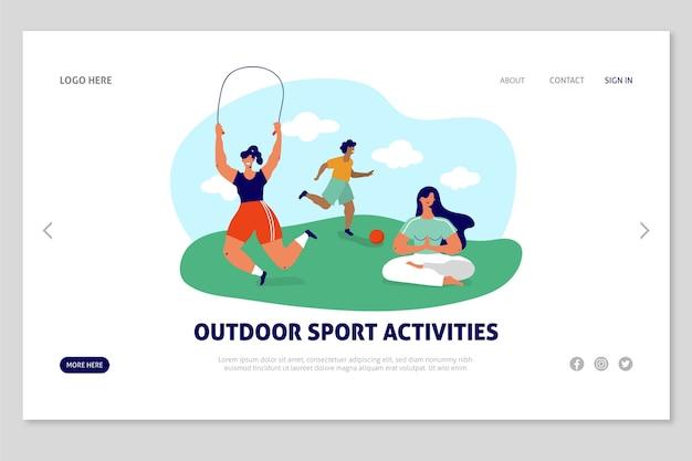 Pagina di destinazione di sport all'aria aperta modello