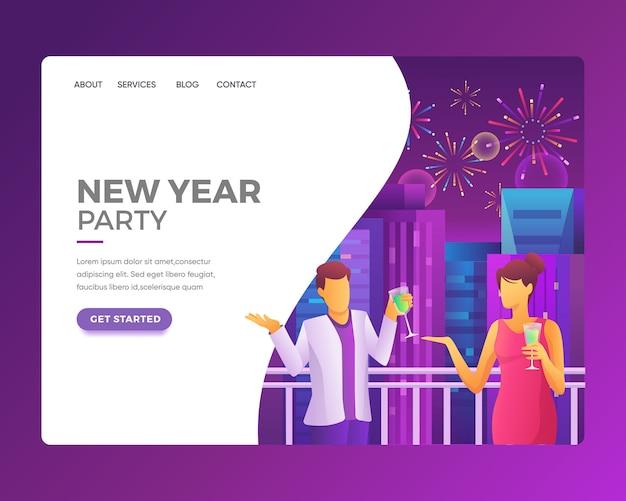 Pagina di destinazione di una persona che festeggia un nuovo anno