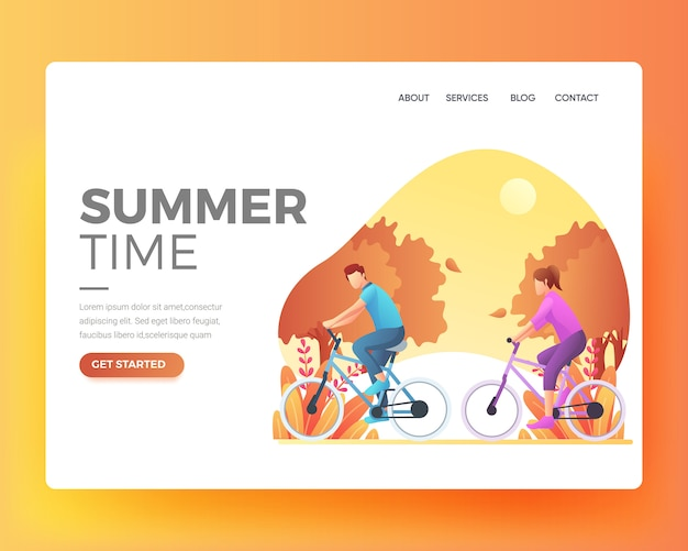 Pagina di destinazione di una persona che si esercita in bicicletta
