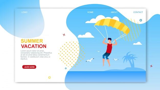 Pagina di destinazione di vacanze estive con testo pubblicitario.