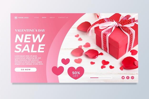 Pagina di destinazione di vendita di san valentino
