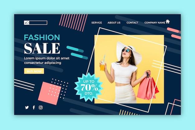 Pagina di destinazione di vendita moda shopping folle