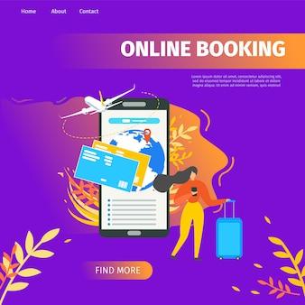 Pagina di destinazione di vettore piatto di servizio di prenotazione online