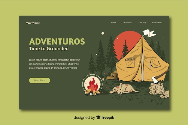 Pagina di destinazione di viaggio avventurosa
