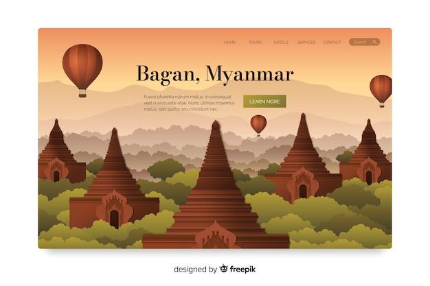 Pagina di destinazione di viaggio con bagan