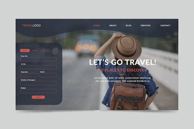Pagina di destinazione di viaggio con foto