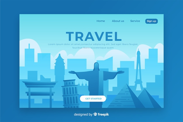 Pagina di destinazione di viaggio con illustrazione