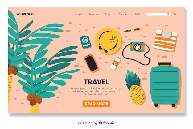 Pagina di destinazione di viaggio con oggetti di viaggio