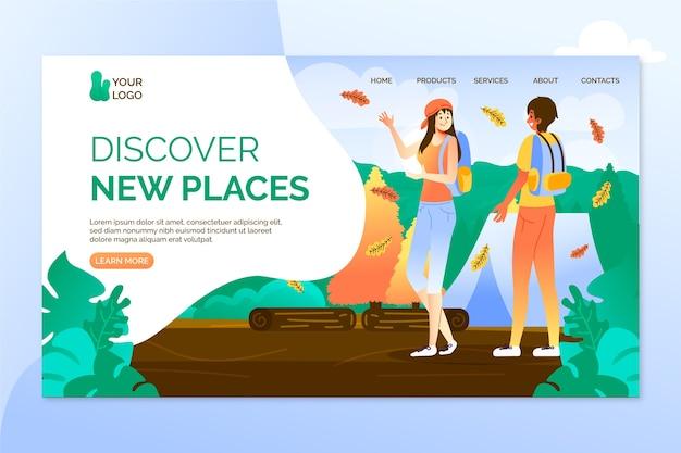 Pagina di destinazione di viaggio modello design piatto