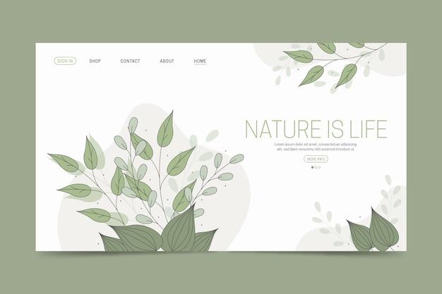 Pagina di destinazione disegnata a mano della natura del modello