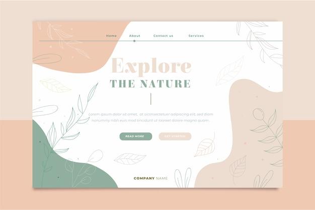 Pagina di destinazione disegnata a mano modello natura