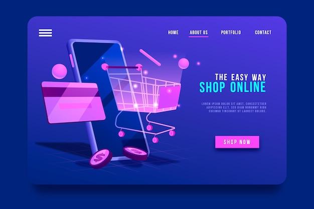 Pagina di destinazione e carrello online per lo shopping futuristico