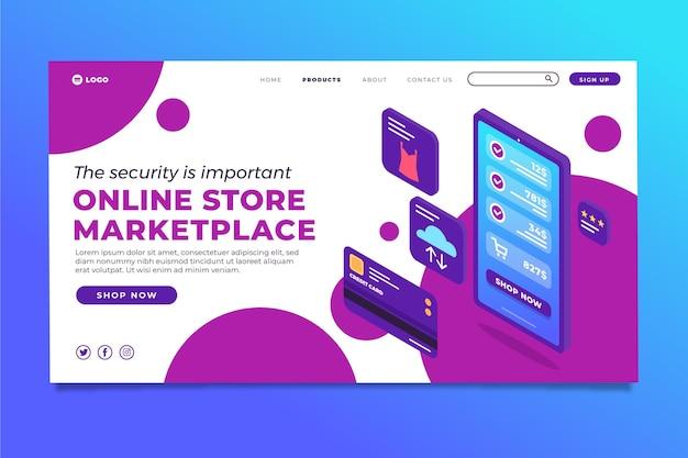 Pagina di destinazione e-commerce isometrica