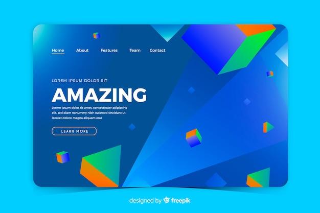 Pagina di destinazione geometrica 3d blu