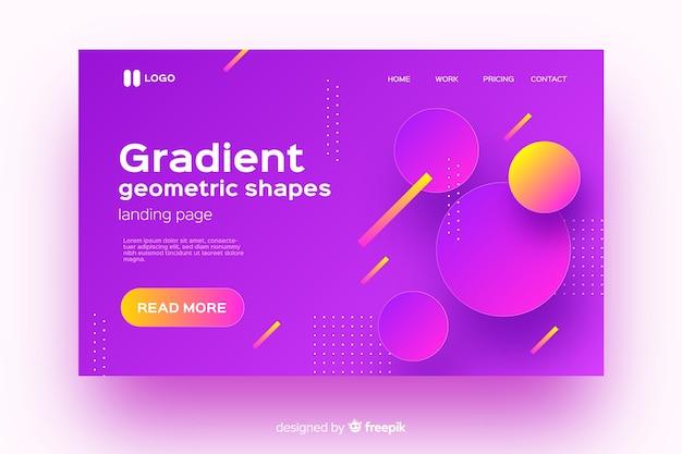Pagina di destinazione gradiente colorato con forme geometriche