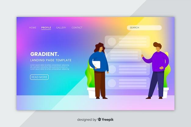 Pagina di destinazione gradiente colorato con modello di illustrazioni