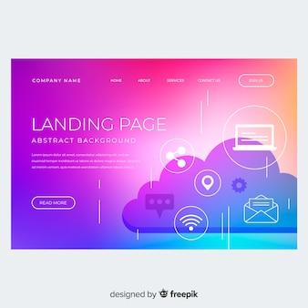 Pagina di destinazione gradiente colorato con nuvola