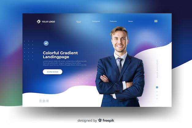 Pagina di destinazione gradiente colorato con uomo d'affari