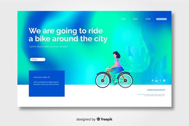 Pagina di destinazione gradiente con personaggio in sella a una bicicletta