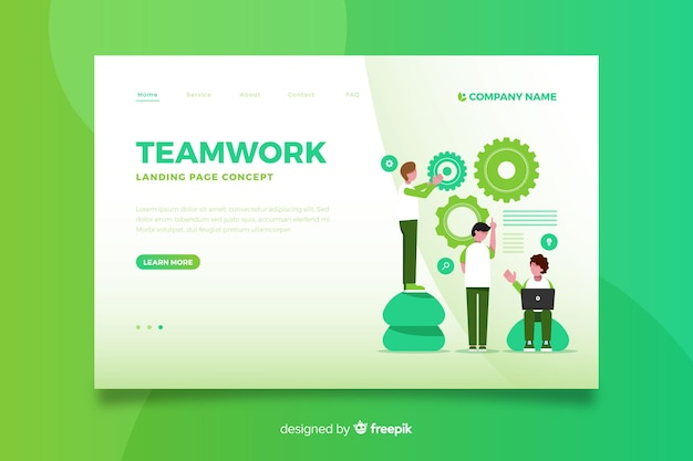 Pagina di destinazione graduale del lavoro di squadra