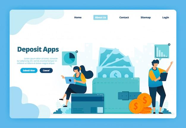 Pagina di destinazione illustrazione delle app di deposito. la società senza contanti effettua pagamenti delle bollette, risparmia denaro, portafoglio e transazioni finanziarie