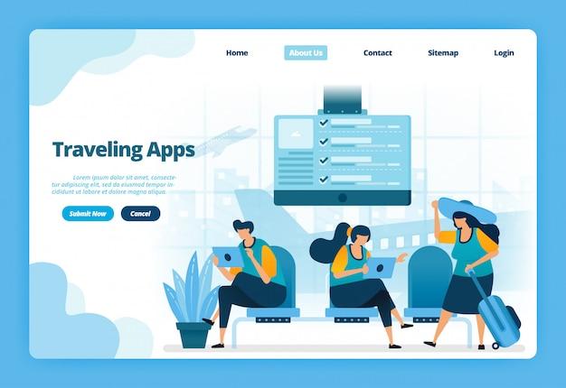 Pagina di destinazione illustrazione delle app in viaggio. acquista biglietti aerei per vacanze e viaggi d'affari