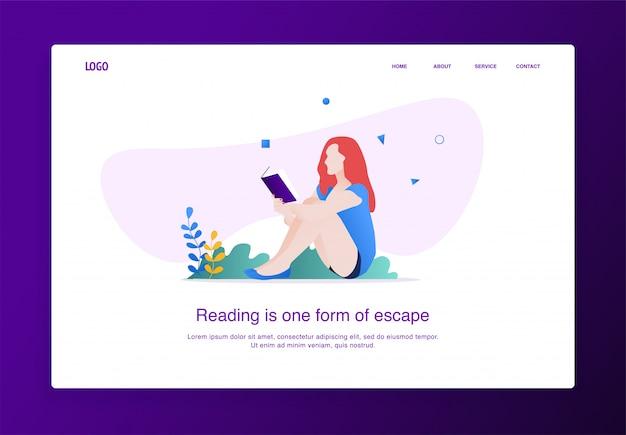 Pagina di destinazione illustrazione di donne che leggono un libro seduti per terra