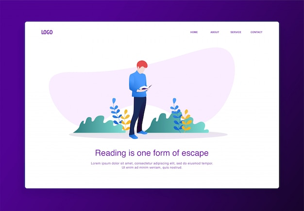 Pagina di destinazione illustrazione di un uomo che legge un libro