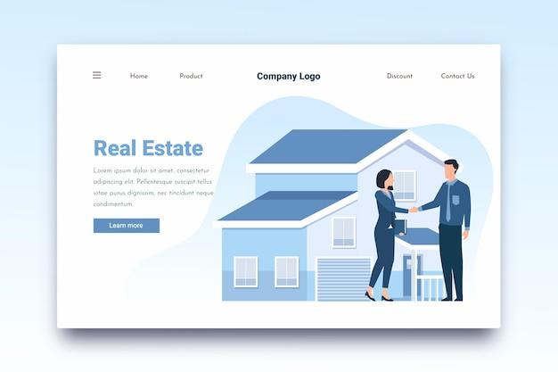 Pagina di destinazione immobiliare di agenti immobiliari e clienti