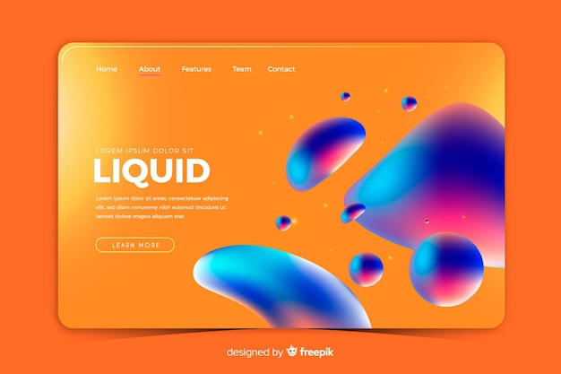 Pagina di destinazione in modello di stile liquido