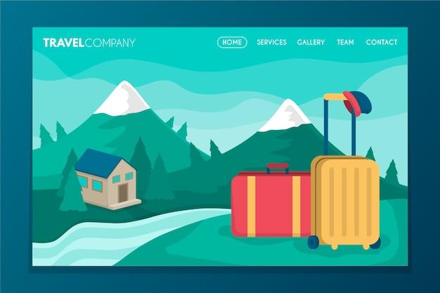 Pagina di destinazione in viaggio con illustrazione