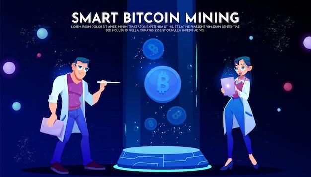 Pagina di destinazione intelligente per il mining di bitcoin, scienziati