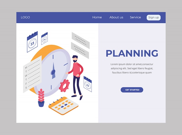 Pagina di destinazione isometrica che mostra pianificazione