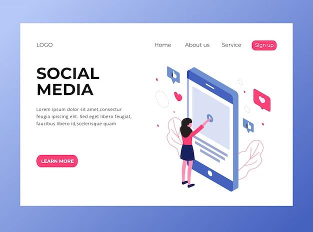 Pagina di destinazione isometrica dei social media