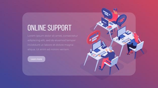 Pagina di destinazione isometrica del centro di supporto online.