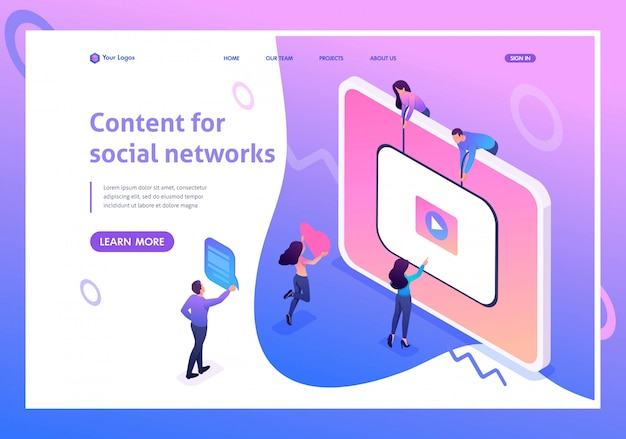 Pagina di destinazione isometrica del concetto creazione di contenuti per social network, sviluppo e promozione di video.